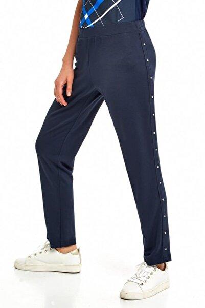 İKİLER Kadın Lacivert Yanları Taşlı Beli Lastikli Pantolon