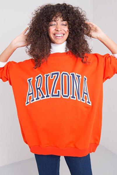 BSL Kadın Oranj Ön Baskı Detaylı Oversize Sweatshirt