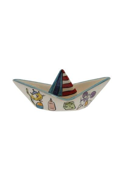 OTANTİK ÇİNİ Kedi Ve Fare Dostluğu Dekorlu Gemi Porselen Biblo