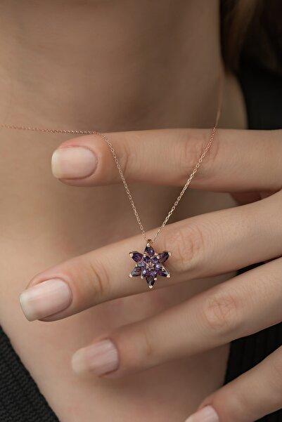 Nereze Kadın 925 Ayar Mor Lotus Çiçeği Gümüş Kolye