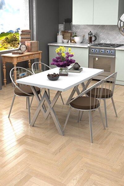 Evdemo Eylül Silver 4 Kişilik Mutfak Masası Takımı Beyaz Kahve