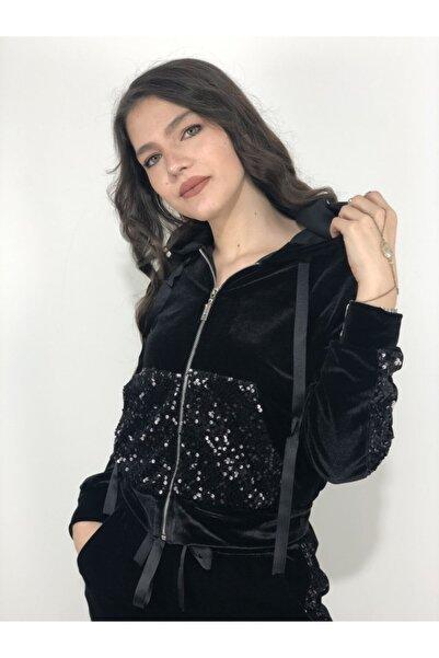 AYHAN Kadın Pullu Kadife Kapüşonlu Eşofman Takım
