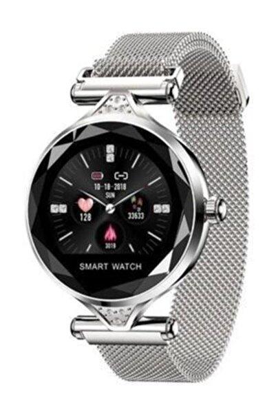 OWWOTECH H1 Bayan Saati Bluetooth Akıllı Saat Adım Sayar Nabız Ölçer-gümüş Renk