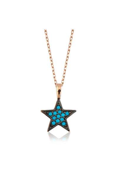 Gumush Gümüş Mavi Yıldız Bayan Kolye