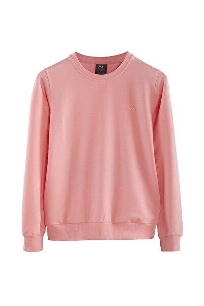 Minimalist Kadın Şeker Pembe Basic Sweatshirt