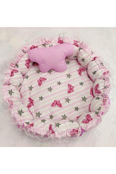 POKY BEBE Kız Bebek Anne Yanı Pembe Kelebekli Puantiyeli Oval Oyun Havuzu Yatağı