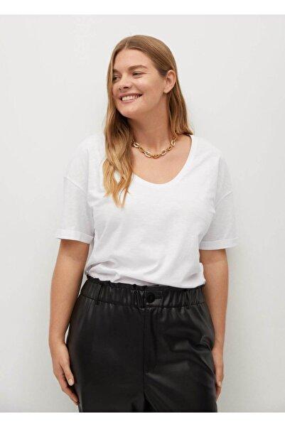Violeta by MANGO Kadın Beyaz Organik Pamuklu Tişört