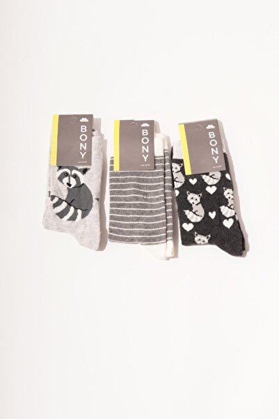 Katia&Bony 3 Lü Paket Racoon Kadın Soket Çorap- Mix