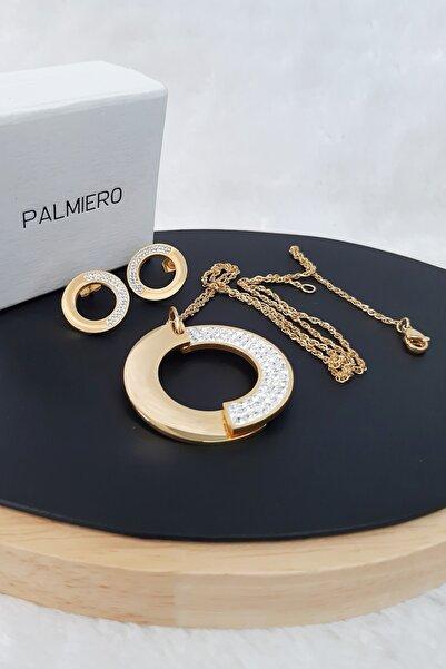 Palmiero Zirkon Taşlı Çelik Kolye Ucu Küpe Set