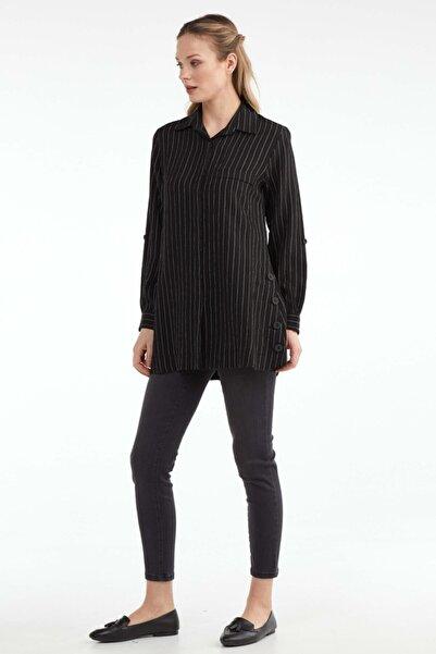Sementa Kadın Düğme Detaylı Tunik Gömlek - Siyah