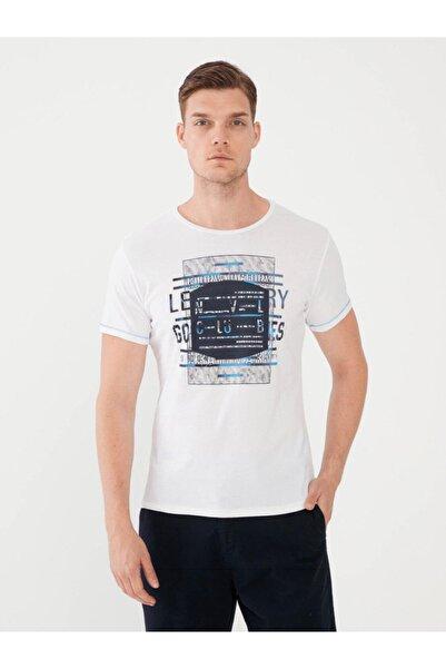 MCL Bisiklet Yaka Baskılı %100 Pamuk Slim Fit Tişört