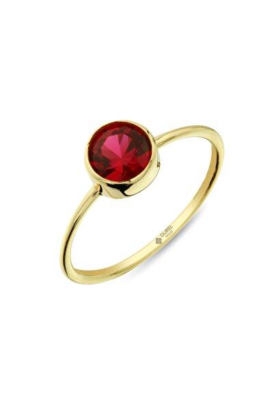 ÇGK KUYUMCULUK Gürel Gold Kırmızı Oval Taşlı Altın Yüzük