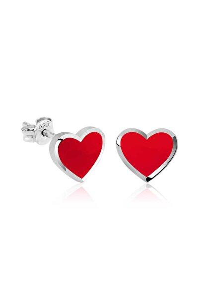 Gumush Gümüş Fosforlu Kırmızı Kalp Küpe