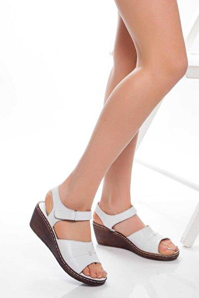 Deripabuc Hakiki Deri Beyaz Kadın Deri Sandalet Dp05-0232