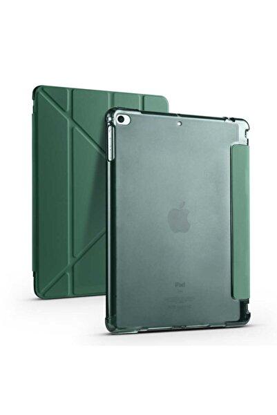 zore Apple Ipad 9.7 2018 Uyumlu Koyu Yeşil Kalem Bölmeli,katlanabilir Tablet Kılıfı,standlı Kılıf Pnd