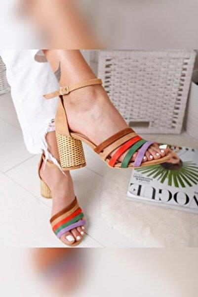 Kadın Kum Süet Multi Hasır Topuklu Ayakkabı