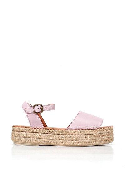BUENO Shoes Hasırlı Hakiki Deri Kadın Dolgu Topuk Sandalet 20wq3515