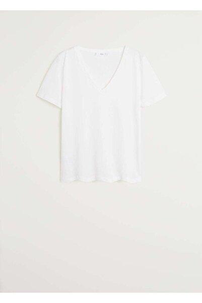 MANGO Woman Kadın Beyaz T-Shirt