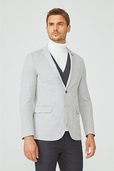Avva Erkek Gri Mono Yaka Çizgili Slim Fit Cebi Kapaklı Ceket A02y4050
