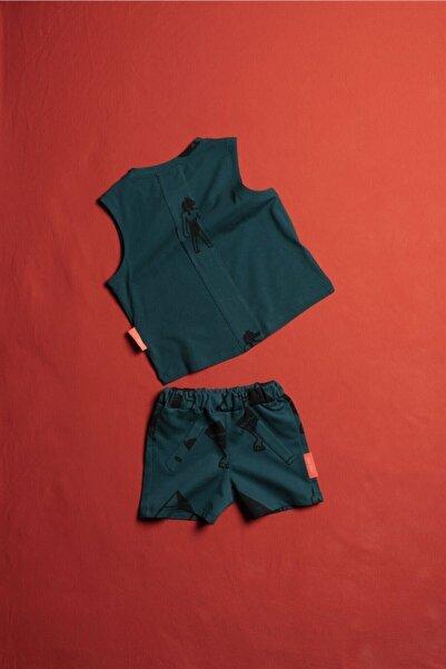 Moi Noi Kolsuz Çocuk Tişört Şort Takım Unisex