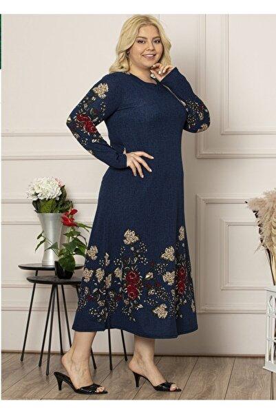 Şirin Butik Kadın Lacivert Yaka Pervazlı Uzun Büyük Beden Elbise