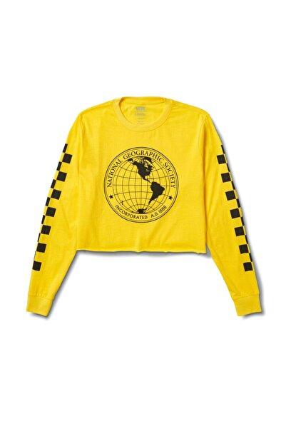 Vans Nat Geo Ls Crop Sarı Kadın T-shirt