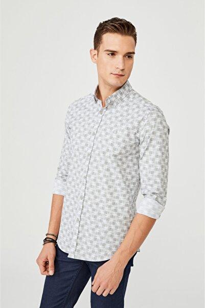Avva Erkek Açık Gri Baskılı Düğmeli Yaka Slim Fit Gömlek A02y2294