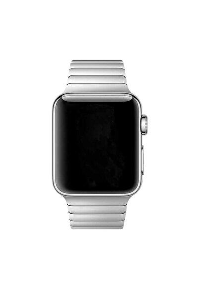 zore Apple Watch 44 Mm Kordon Çizgili Ayarlanabilir Otomatik Klipsli Metal Saat Kordun