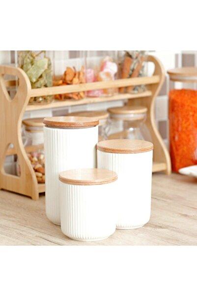 AROW Bella 3'lü Bambu Kapaklı Porselen Baharat Takımı