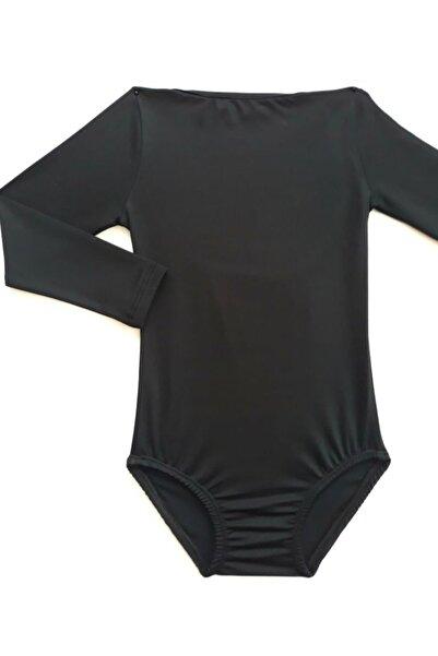 LULLY KİDS Lully Kıds Jimnastik Bale Antreman Siyah Kapri Kol Body Kız Çocuk Mayosu