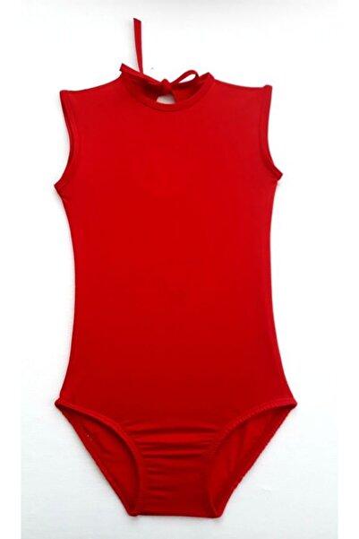 LULLY KİDS Jimnastik Bale Antreman Kırmızı Kolsuz Body Kız Çocuk Mayosu