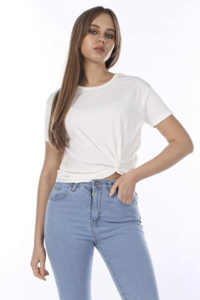 BARRELS AND OIL Kadın Ekru Yandan Düğümlü T-Shirt 399-20Y13028.63