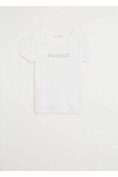 Kadın Beyaz Metalik Logolu Tişört 77050535