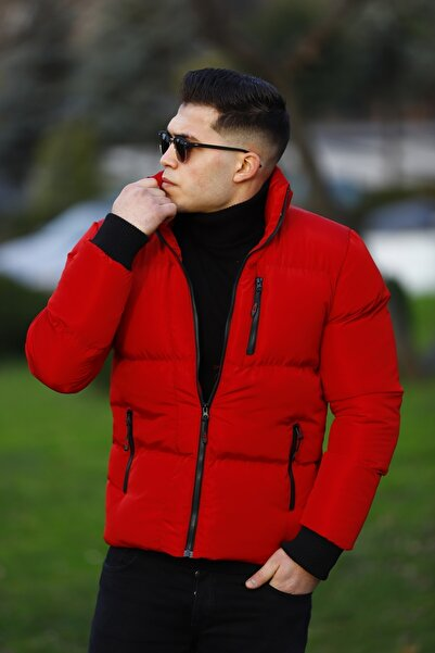 WOWA COMPANY Erkek Kırmızı Şişme Mont