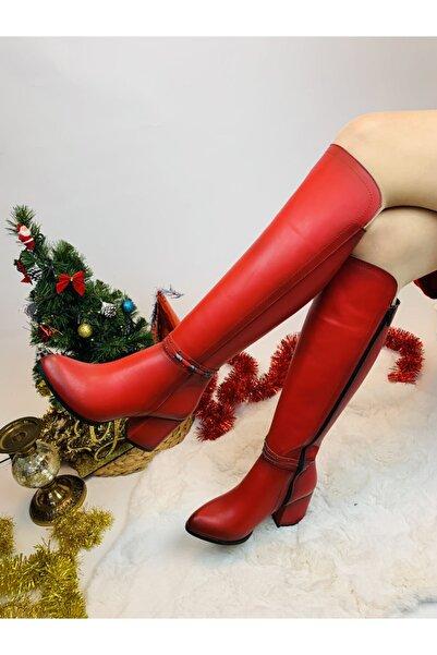 Yazın Ayakkabıları Kırmızı Mat Cilt Yanı Boncuk Detaylı Topuklu Çizme