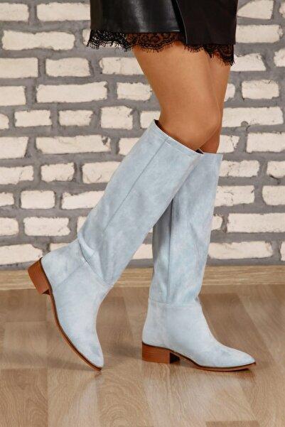 ShoeTek 1495 Kadın Çizme Bebe Mavi Süet