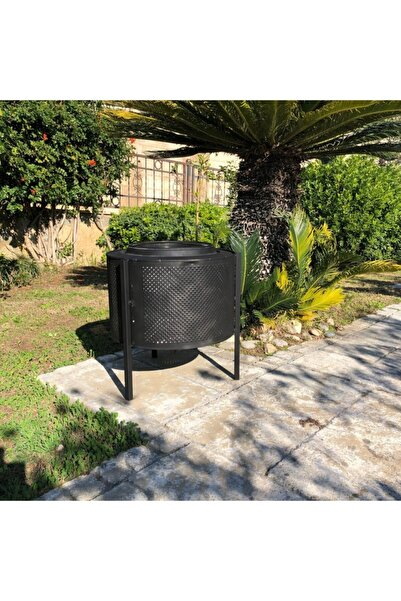 Tamiret Dış Mekan Bahçe Şöminesi Siyah Renk