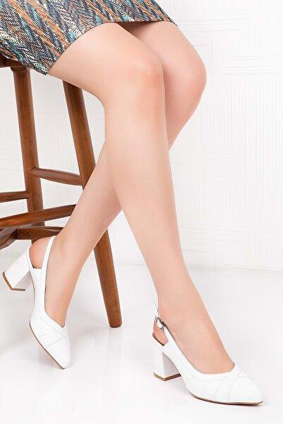 Gondol Hakiki Deri Renkli Tar Topuklu Ayakkabı Şhn.75 - Beyaz Süet - 37