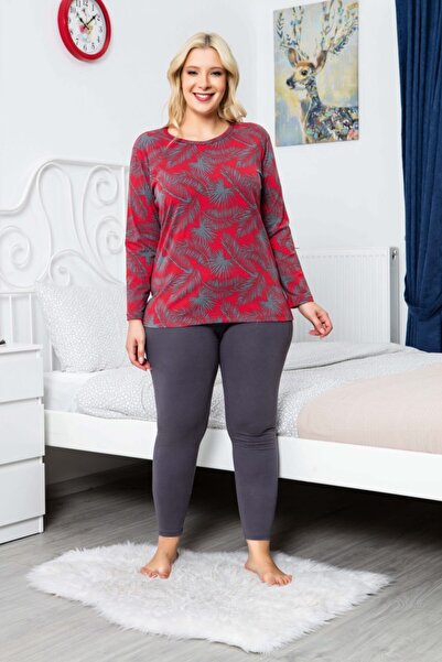 MyBen Büyük Beden Pijama Takımı Antrasit Renkli Desenli Uzun Kollu Battal Beden Taytlı Pijama Takımı 16117