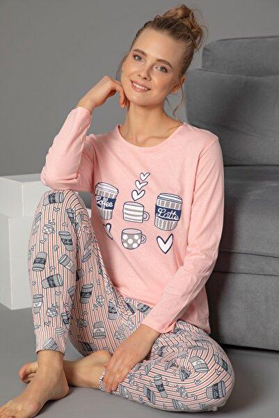 STRAWBERRY Pamuklu Baskılı Uzun Kol Pijama Takım