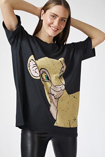 Kadın Siyah Baskılı Oversize Uzun T-shirt ZV00065