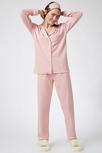 Happiness İst. Kadın Pembe Biyeli Pamuklu Rahat Pijama Takımı  FN02587