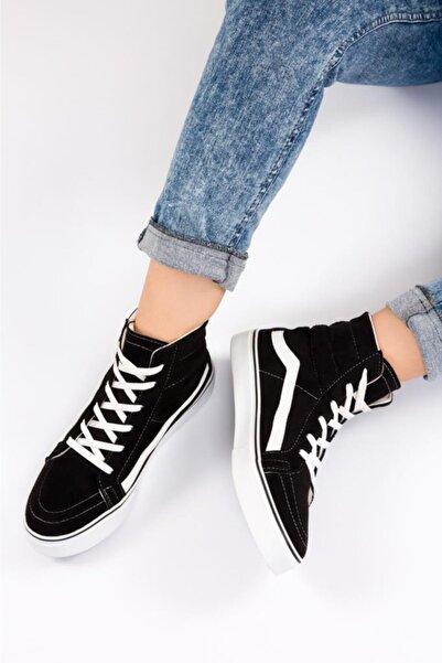 ESPARDİLE Kadın Siyah Süet Uzun Günlük Spor Ayakkabı