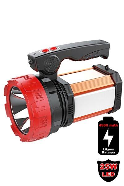 yopigo 8100-yp 25w Ultra Güçlü Şarjlı El Feneri Projektör Sos+powerbank+usb Çıkış+25w Yan Aydınlatma