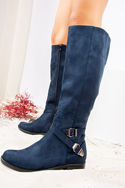 Fox Shoes Lacivert Süet Kadın Çizme E726203402