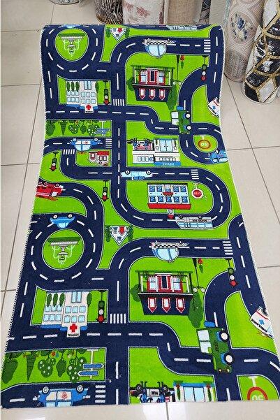 Halıser Arabalı Yollu Özel Ölçü Kesme Çocuk Odası Halısı