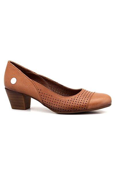 Mammamia Taba Deri Kadın Topuklu Ayakkabı