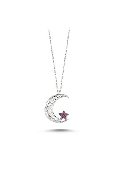 Zuk Collection Gümüş Ajur Desenli Ve Zirkon Taşlı Ay Yıldız Kolye