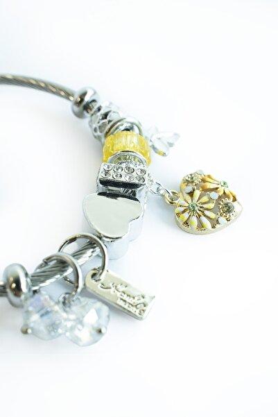 Marjin Kadın Sarı Kalp Figürlü Gümüş Renkli Bileklik