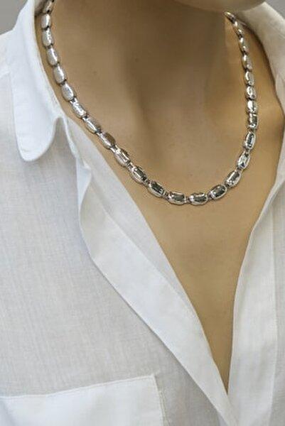 Kadın Gümüş Renkli  Oval Zincir Kolye
